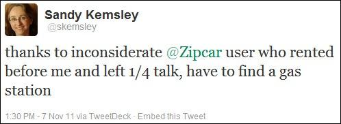 Zipcar tweet